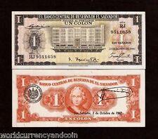 EL SALVADOR 1 COLON P100 1966 CRISTOBAL UNC-LATINO WORLDCURRENCY MONEY BILL NOTE