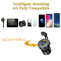 QC 3.0 +PD Type-C Dual USB Charger Fast Charge W/ LED Voltmeter Fit For Car Boat