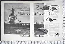 1941 UNDERWOOD Typewriter & Business Machines WW2 US Navy 2-Pg Vtg Print Ad 6533