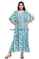 UK Womens White Boho Maxi Long Summer Beach Sun Dress Hand Block Print Kaftan