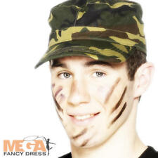Army Camouflage Cap Fancy Dress Military Solider Uniform Mens Ladies Costume Hat