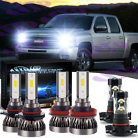 For Chevy Silverado 1500 2500 3500 2007-15 - 6000K LED Headlight Fog Light Bulbs