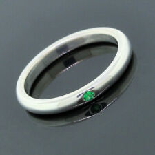 Tiffany&Co. Elsa Peretti 925 Sterling Silver Band Emerald Stack Ring Size 7.5