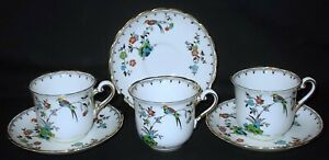 THREE Plant Tuscan China BIRD & FLORAL # 9143 Tea Cups and Saucers