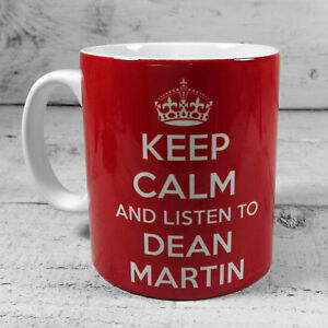 NEW KEEP CALM AND LISTEN TO DEAN MARTIN GIFT MUG CUP PRESENT RAT PACK MUSIC