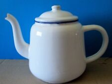 VINTAGE ENAMELWARE WHITE BLUE RIM TEAPOT RESERVOIR CHINA
