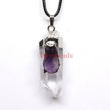 Natural Rock Crystal Inlay Amethyst Quartz Crystal Pendulum Reiki Stone Pendants