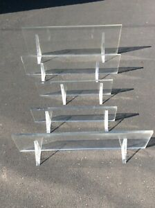 Mid Century Modern Set of 5 Wall Mounted Floating Lucite Shelves 1970s