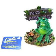 Blue Ribbon Pot Belly Frog No Fishing Sign Aquarium Ornament