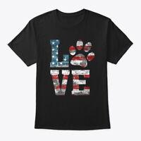 Love Dog Paw Lover American Flag Hanes Tagless Tee T-Shirt