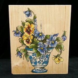Penny Black Rubber Stamp Blooming Pansies 1179L Pansy Flowers Vase Barbara Mock