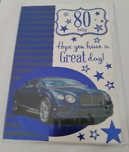 80 Today Hope You Have A Great Day. Classic Car Design Birthday Card For Male