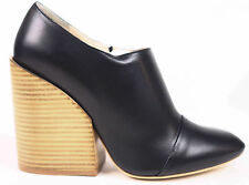 Chloe Black Leather Zip Up Ankle Bootie Chunky Wedge Heels EU 39.5 US 9 $840