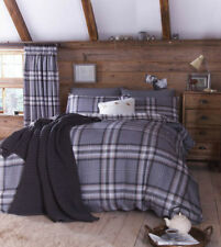 Catherine Lansfield Kelso Charcoal Half Set Bedding Double Duvet Cover