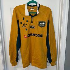 Rugby Union Australia Authentic Wallabies Long Sleeve Shirt Size Medium Qantas