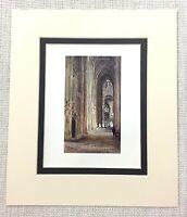 1906 Antico Stampa Winchester Cathedral Interno Nord Navata Vecchio Architettura