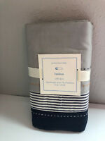 Pottery Barn Baby Landon Crib Skirt Organic Blue White Gray Stripes Kids New