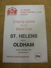 10/08/1980 Rugby League Programme: St Helens v Oldham [World Cup Charity Game] (