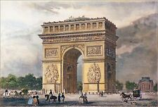 FRANCE - The ARC of TRIOMPHE - Engraving from 19th (hand-painted)