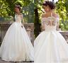 Vintage A Line Lace Muslim Wedding Dresses Sheer Neckline Appliques Bridal Gown