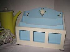 Vintage Desktop Counter top Organizer Solid Wood Beach Cottage Decor