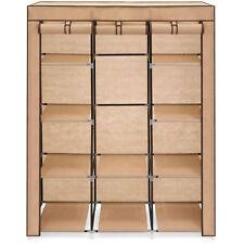 10 Shelf Tan Portable Clothes Shoe Rack Closet Storage Organizer System Cover
