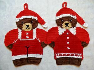 Motiv Topflappen gehäkelte Weihnachtsteddys Handarbeit Baumwolle 2er Set