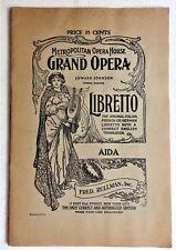 AIDA Verdi libretto Metropolitan Opera House New York City Italian English 1940s