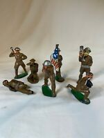 VINTAGE**RARE** LOT OF 5  Flag Barrier BARCLAY MANOIL TOY SOLDIERS WWI c639