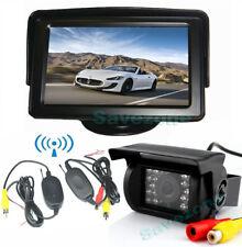 "Wireless IR HD Reverse Backup Camera 18 LED + 4.3"" Monitor Car Rear View Kit 12V"