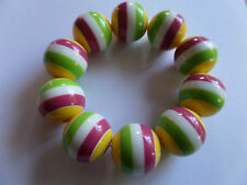 CHUNKY RETRO MULTI COLOUR CANDY STRIPE BEAD BRACELET new voile pouch