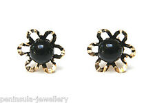 9ct Gold Black Onyx Flower Stud earrings Gift Boxed Studs Made in UK