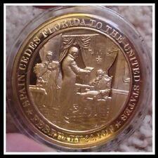 1819 - SPAIN CEDES FLORIDA to United States - FRANKLIN MINT Solid BRONZE Medal