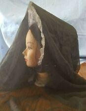 Repro 1860 Civil War Victorian Black Silk Handmade MOURNING SPOON BONNET & VEIL