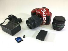 Pentax K-r  Red Body 12.4mp DSLR camera kit lens SMC 35mm 18-55mm 32gb Card Lot