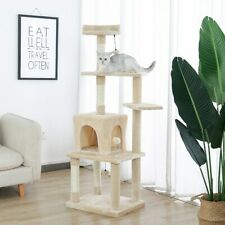 Cat Tree House with Hanging Ball ֿFurniture Scratch Solid Wood FAST DELIVERY US