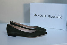 New sz 11.5  41.5 Manolo Blahnik BB Mave Olive Green Suede Pointed Toe Flat Shoe