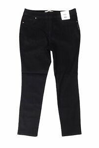 WALLIS DEMI Slim Straight Stretch Jeans Jegging Side Zip UK 14 W32 L29 Dark Blue