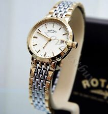 ROTARY LADIES WATCH Two Tone Gold Plated SELF ADJUSTABLE BRACELET Boxed RRP £150