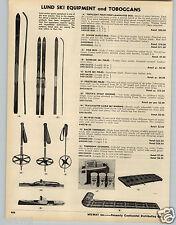 1953 PAPER AD Lund Ski Skis Topflight Laminated Hickory Wood Presto Poles