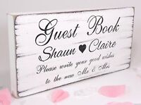 Guest Book Wedding Sign Personalised Plaque Vintage Shabby & Chic Free Standing