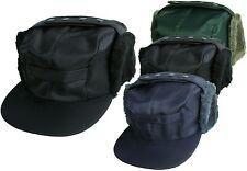 Mens Showerproof Peaked Hat With Ear Flaps Russian Trapper Hat Sporting Cap
