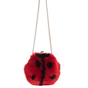 RRP €760 DOLCE & GABBANA BAMBINO Rabbit Fur Ladybird Shoulder Bag Chain Strap
