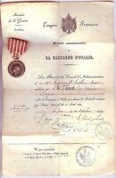Médaille - Campagne d'ITALIE 1859 Napoléon III avec son diplôme