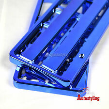 2x BLUE CHROME EFFECT premium car number plate licence holder frame surround