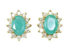 Echter Diamanten-Ohrschmuck aus Gelbgold mit Smaragd