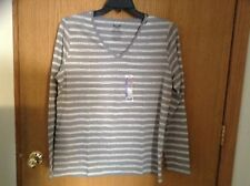 Ladies size XXL Faded Glory Vee neck striped shirt gray / silver