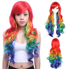 Rainbow Wig Colorful Hair Mixed Color Long Curly Wavy Women Cosplay Wigs Party