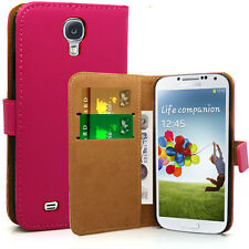 Pink Real Leather Wallet Case Pouch Cover For Samsung Galaxy S5 mini G800