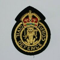 British Military Army Civil Defence Corps Patch Badge Kings Crown